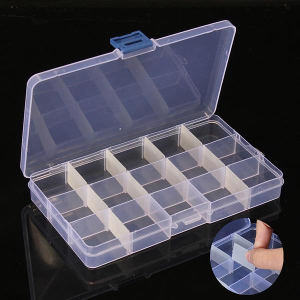 5PCS 15 Cells Compartment Plastic Storage Box Adjustable Detachable for Nail Tip Gems Little Stuff