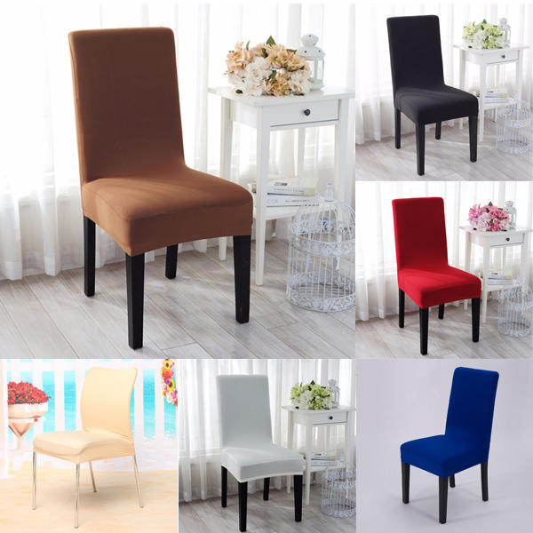 Elegant Jacquard Fabric Solid Color Stretch Chair Seat Cover Computer Dining Room Kitchen Decor COD