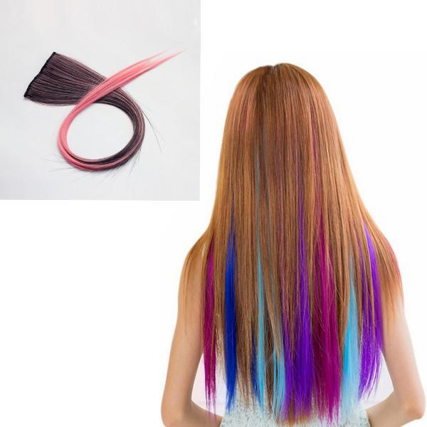 Nawomi 1pcs 2 clipe em preto calor ombre rosa amigável cabelo sintético pedaço da extensão do cabelo resistente