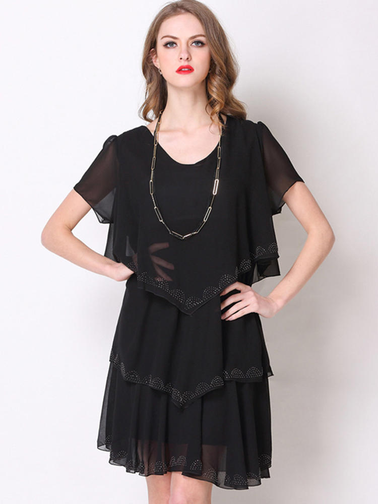 Women Casual Solid Bead Patchwork Ruffled Chiffon Dress