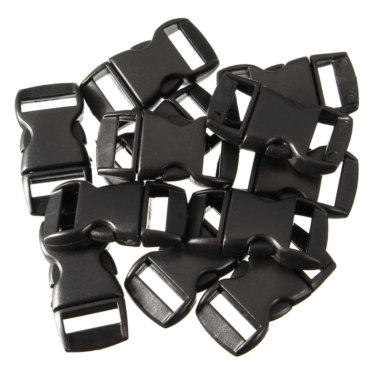 12pcs Black Plastic Curved Release Clasp Buckles Umbrella Rope Bracelet