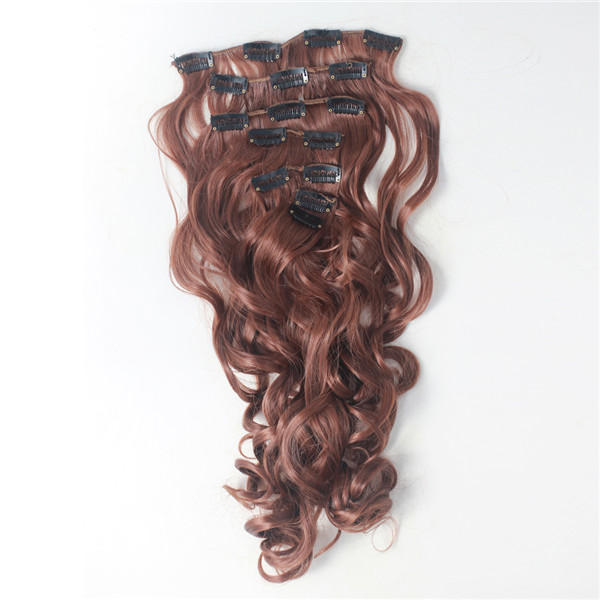 7Pcs NAWOMI Body Wave Heat Resistant Friendly Clip In Synthetic Hair Extension 21.65 Inch #30 Brown