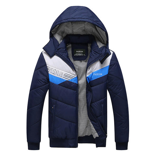 Mens Winter Padded Thick Warm Sports Hooded Down Jacket
