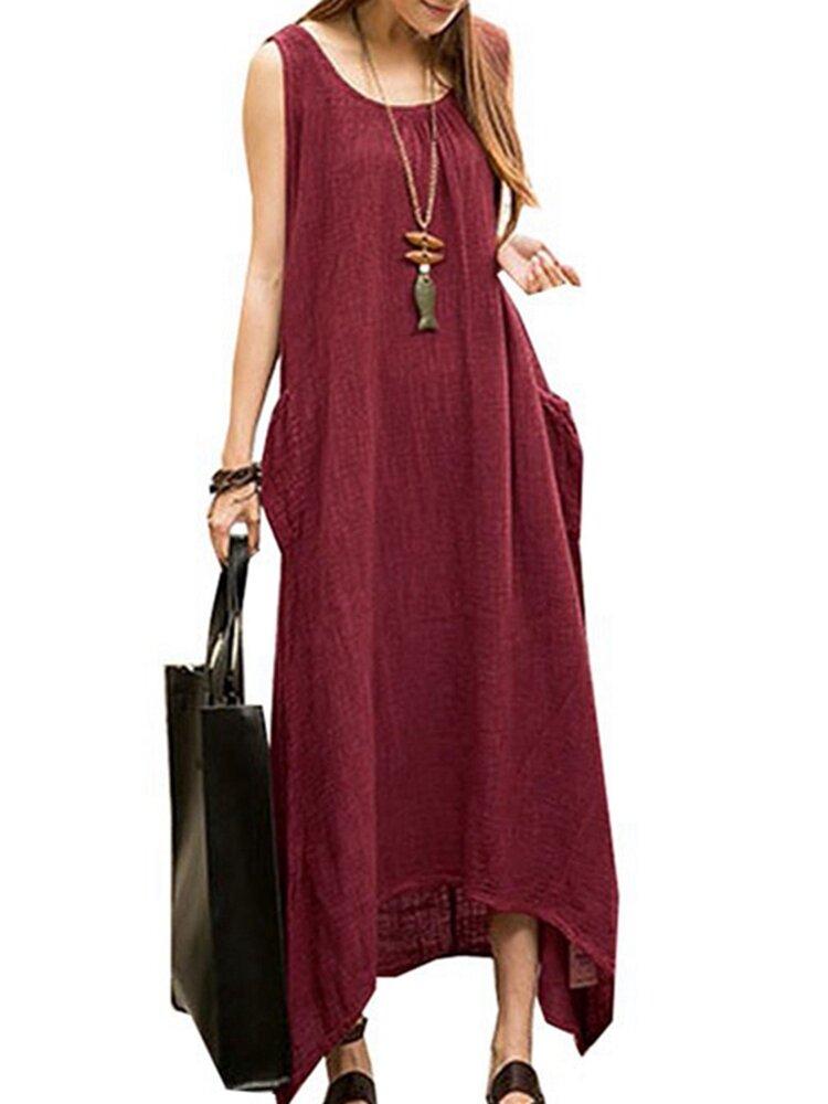 Vestido Maxi de Algodón Alto Bajo sin Mangas Casual Vintage para Mujer