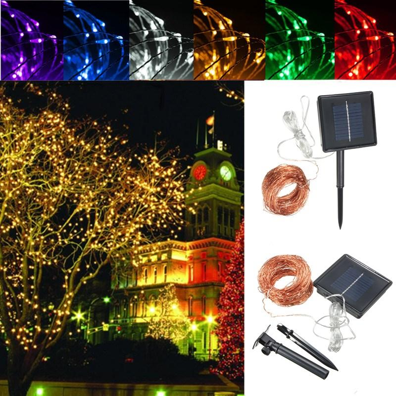 32m Solar Ed Led String Copper Wire Fairy Light Christmas Lamp Waterproof Cod