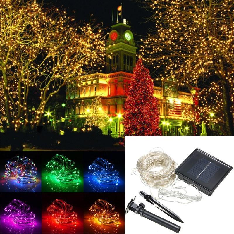 32M โซลา Powered LED String Sliver ลวด โคมไฟคริสมาสต์ Fairy กันน้ำ