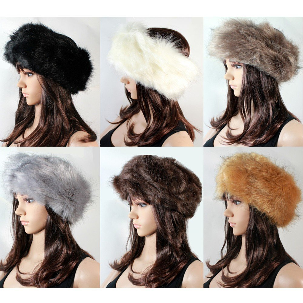 unisex men women russian fluffy faux fox fur hat headband winter earwarmer  ski cap at Banggood sold out ccfe626b716