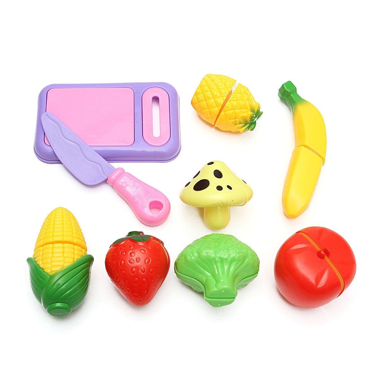 9PCS ตัดพลาสติกผลไม้ผักอาหารห้องครัวแกล้งทำเป็นเล่นของเล่นชุดของขวัญเด็ก