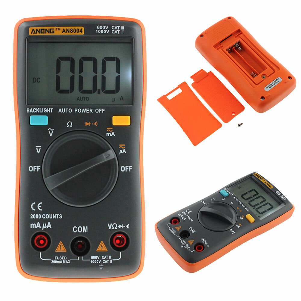 An8004 Auto Range Digital Multimeter Backlight Ac Dc Ammeter Electronic Multimeters Voltmeter Meter Resistance Tester Orange