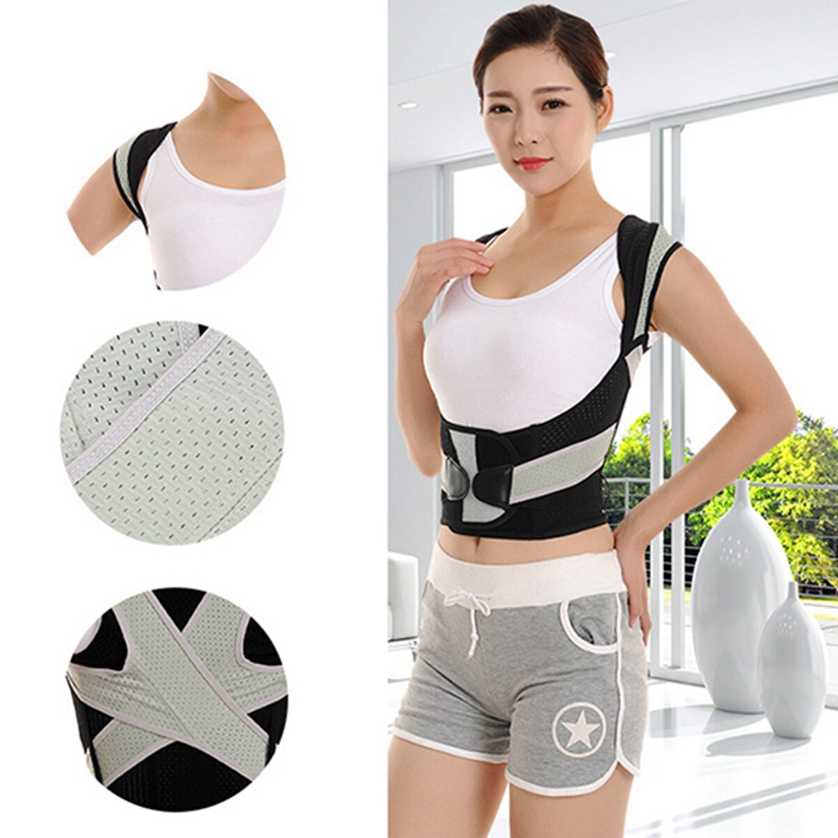 Corrector de postura ajustable Cinturón Corsé Kyphosis Humpback Correction Back Shoulder Support