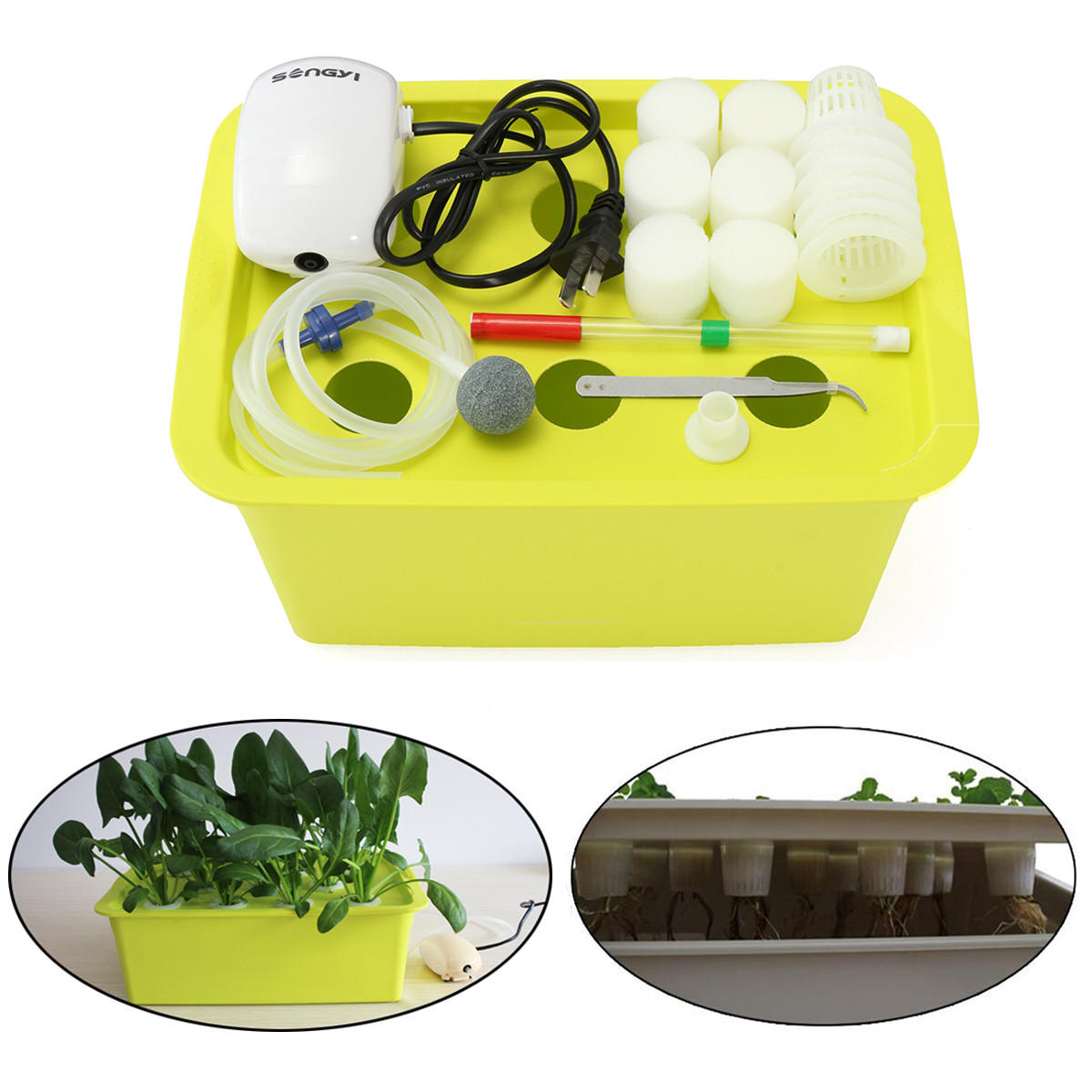 6 Trous Site Vegetal Systeme Hydroponique Grow Kit Bubble Interieur