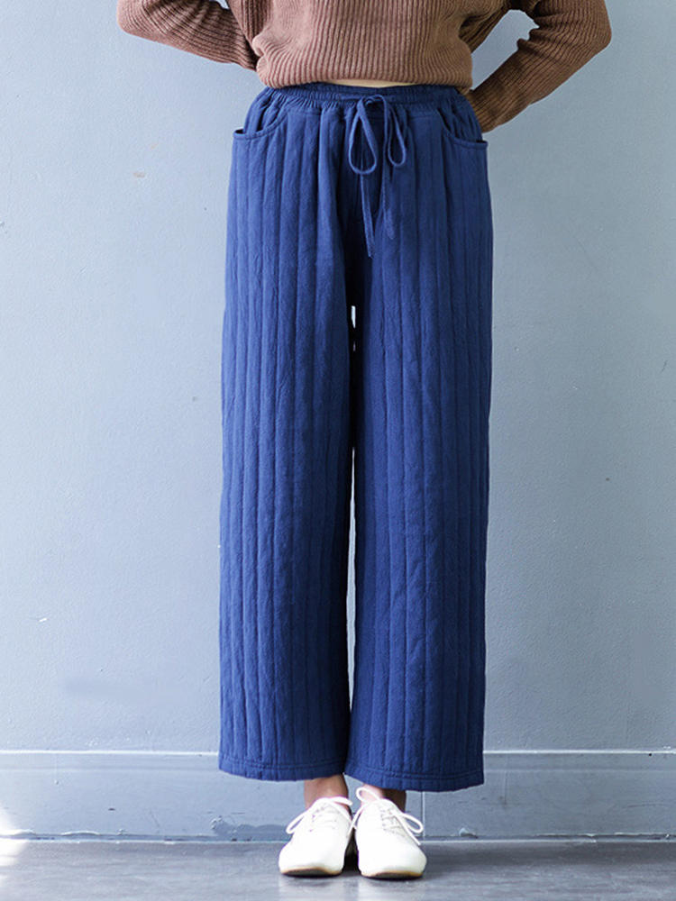 casual women thicken stripe drawstring waist wide leg pants at Banggood ef812b40d80