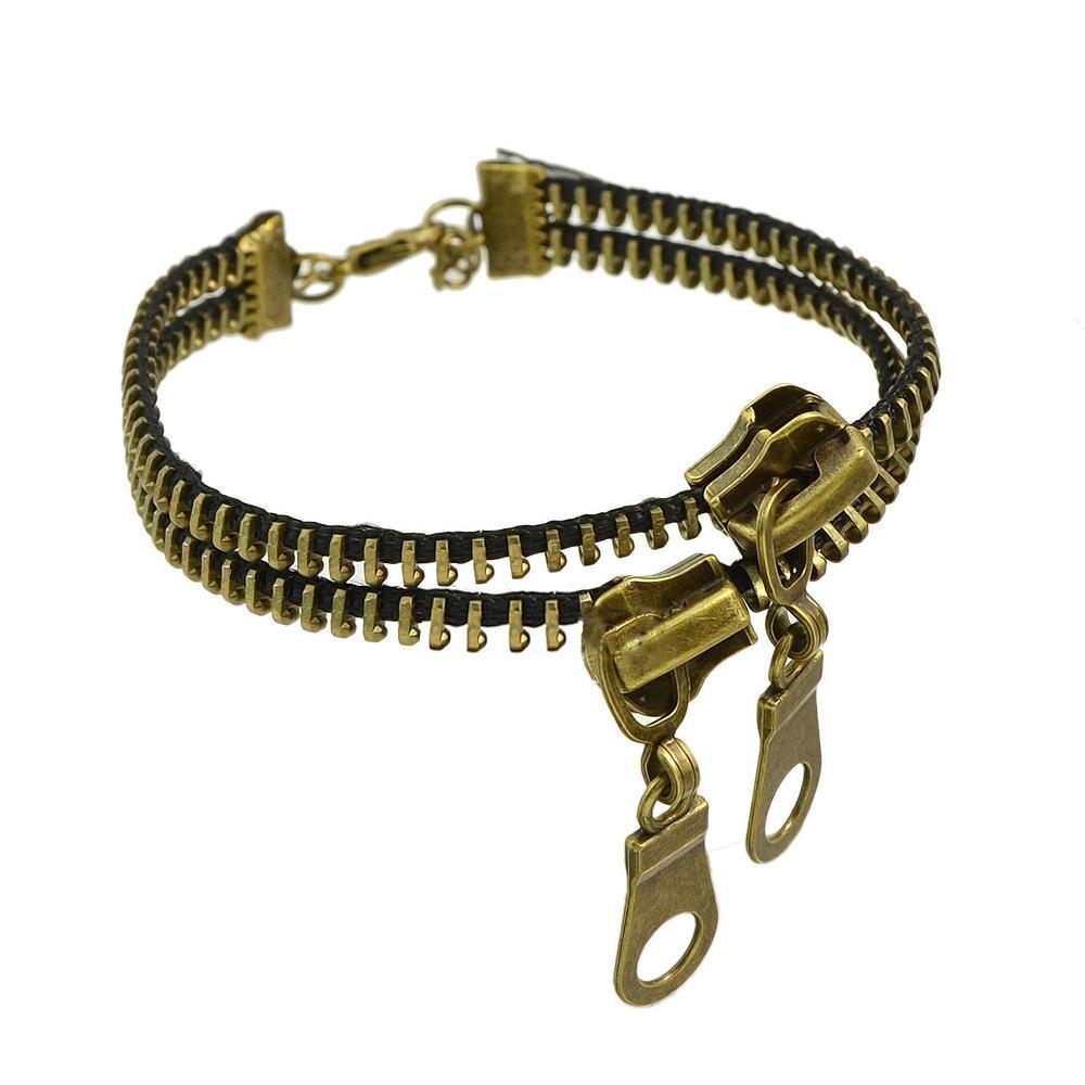 Rétro simple drôle aiguille double Zipper