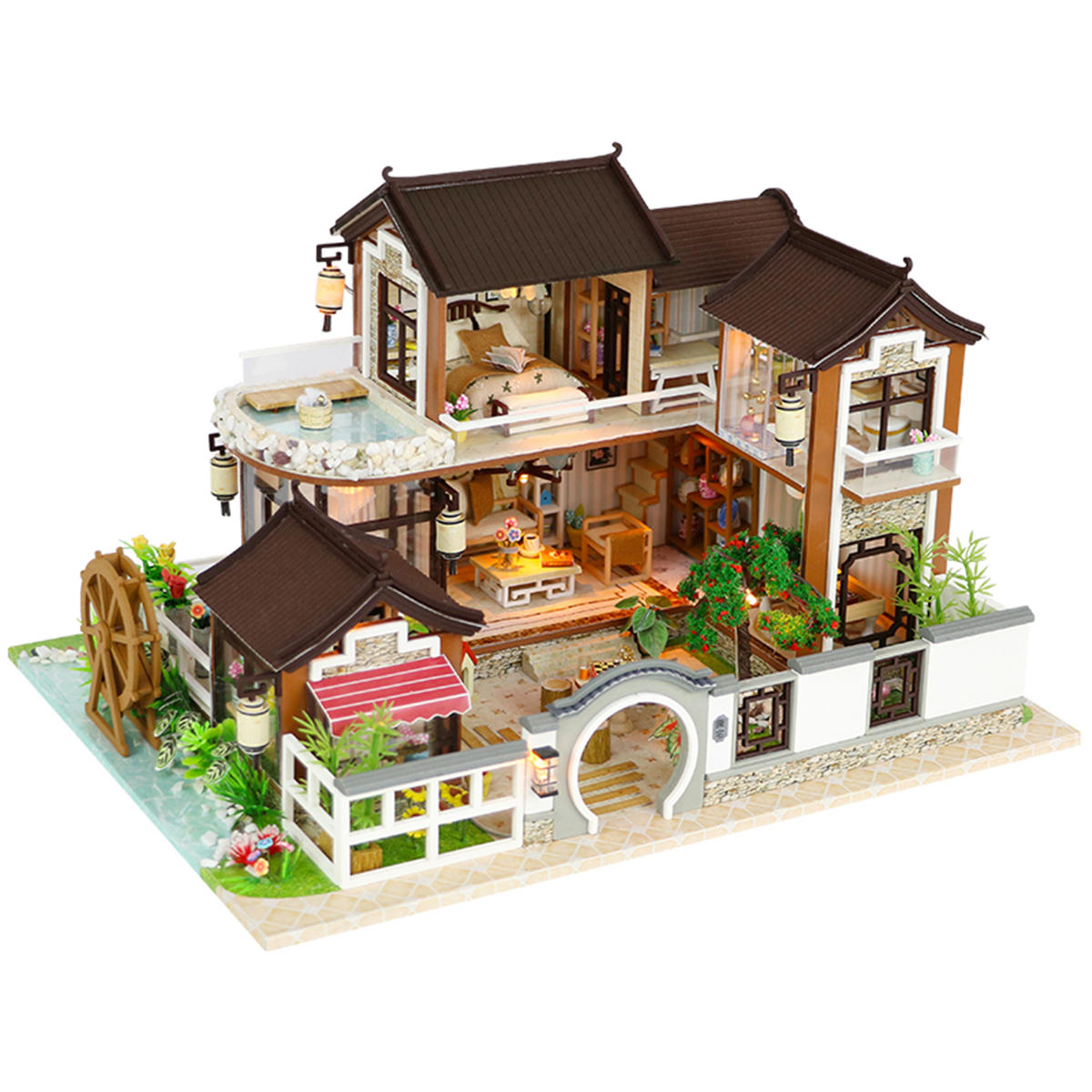 Pleasing Diy Dollhouse Miniature Doll House Furniture Kit Led Kids Cat Wiring Digital Resources Cettecompassionincorg