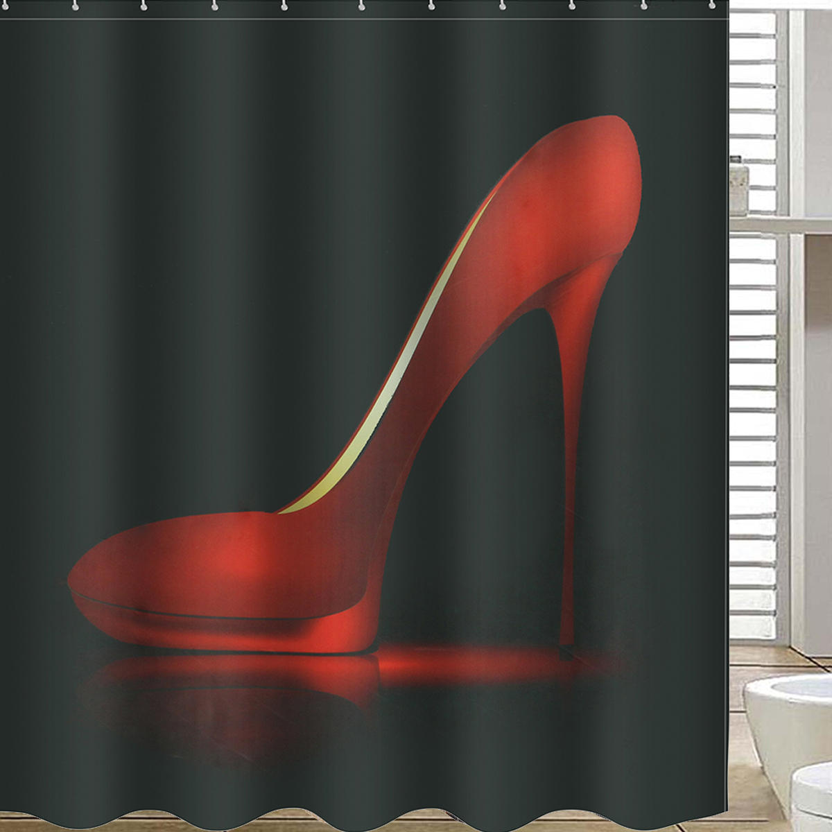 High Red Heels Black Waterproof Bathroom Shower Curtain Liner Polyester Fabric 12 Hooks COD