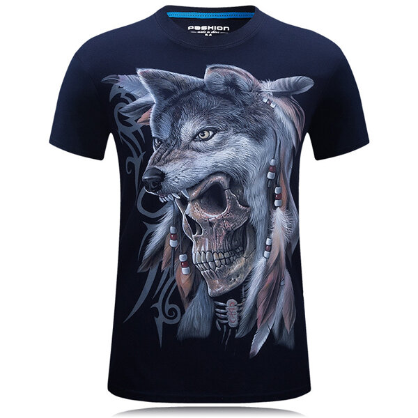 Mens Wolf 3D Animal Skull Printing Plus Size Tees Summer Personality Short Sleeve T-shirt