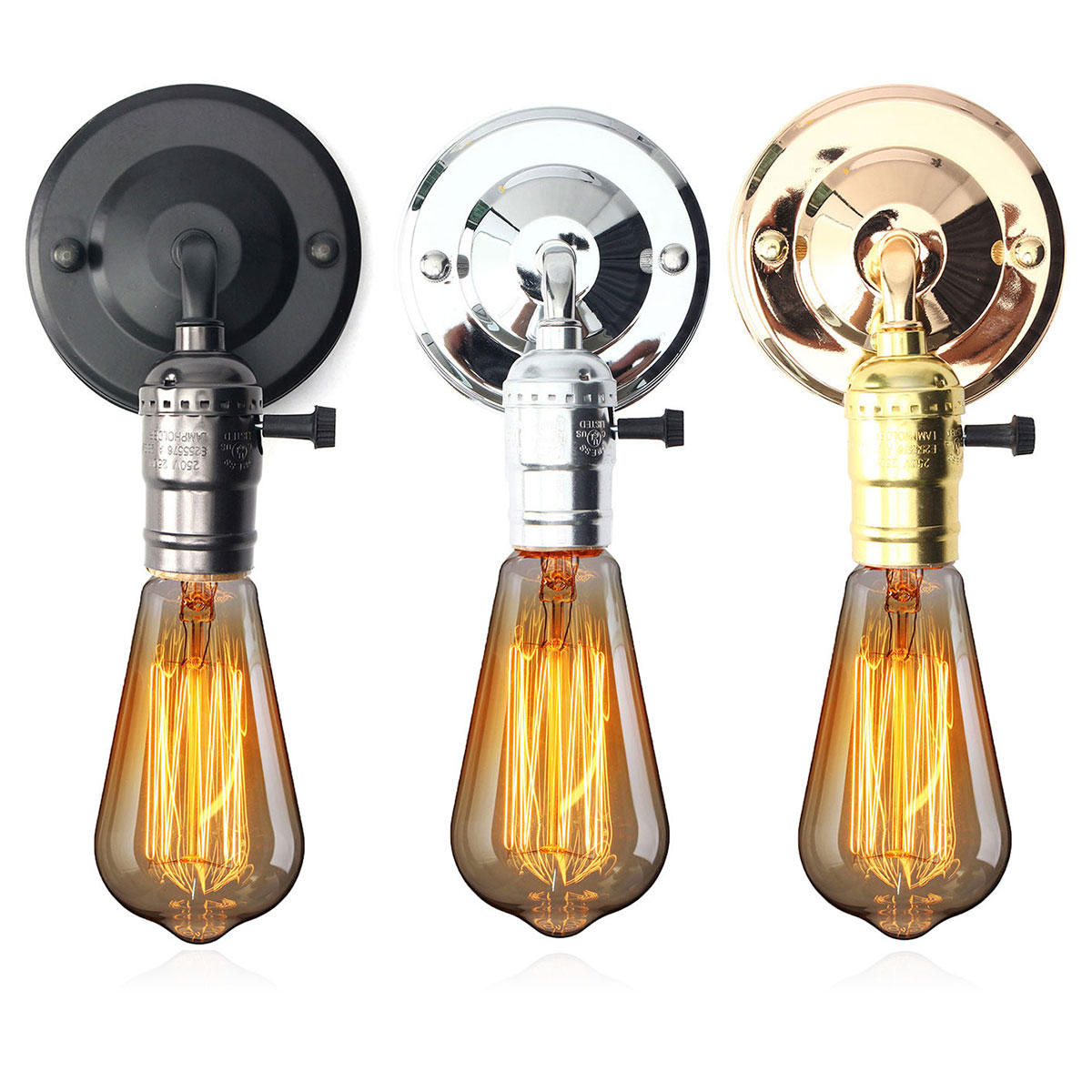 Wall Sconce Light With Switch: E27 Antique Vintage Switch Type Wall Light Sconce Lamp