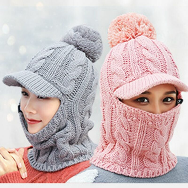 8a79c87fade Women Winter Outdoor Warm Headpiece Multifunction Knitted Hat Face Mask Knit  Cap COD
