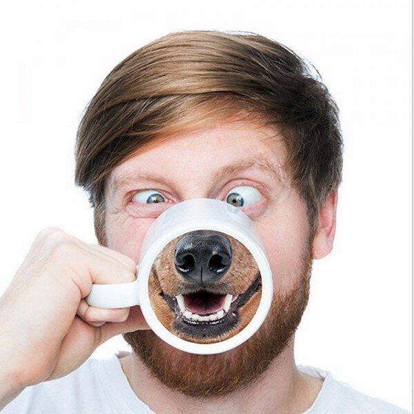 재미 있은 개 코 커피 차 머그잔 친구를위한 크리 에이 티브 애완 동물 도기 코 세라믹 워터 컵 선물