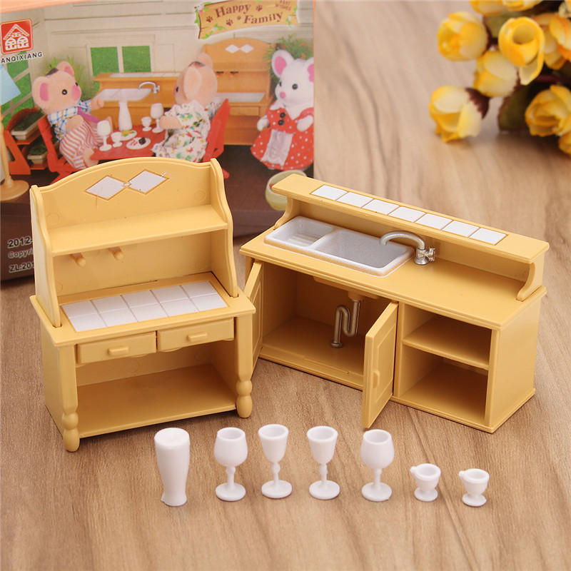 Plastic Kitchen Miniature Doll House Accessories Furniture