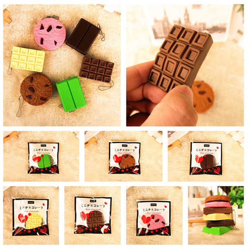 Squishy Crack Chocolate Bar Biscuit Cracker 5.5x1x6cm Sound avec emballage Collection Gift Decor Toy