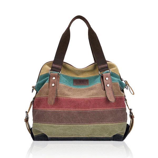 f698813f953b Women Casual Stripe Canvas Handbag Micro-Fibric Leather Shoulder Bags  Contrast Color Crossbody Bags COD