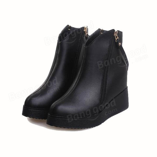 e7cd099d70ef women black wedge zipper ankle boots leather shoes platform hidden heel  poited toe boots at Banggood sold out