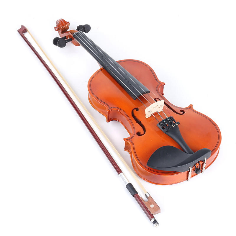 1/2 Size Natural Acoustic Violin Fiddle Instrument with Bow Rosin Carry Case