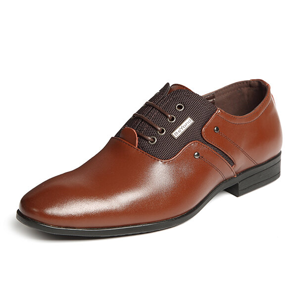 Banggood Shoes Men Genuine Leather Elastic Farbic Business Formal Shoes