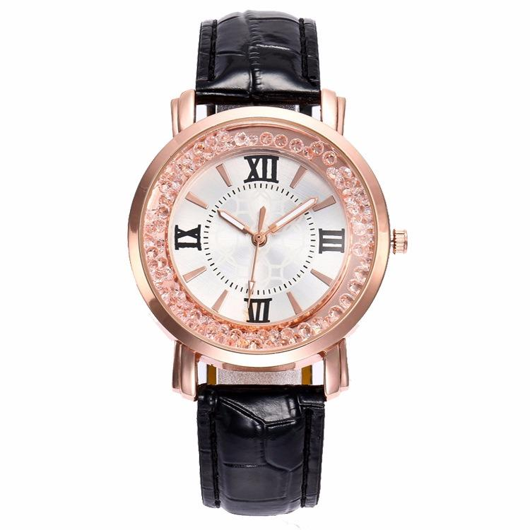 Fashion Rose Gold Flowing Crystal Roman numerals Ladies Dress Bracelet Leather Women Quartz Watch