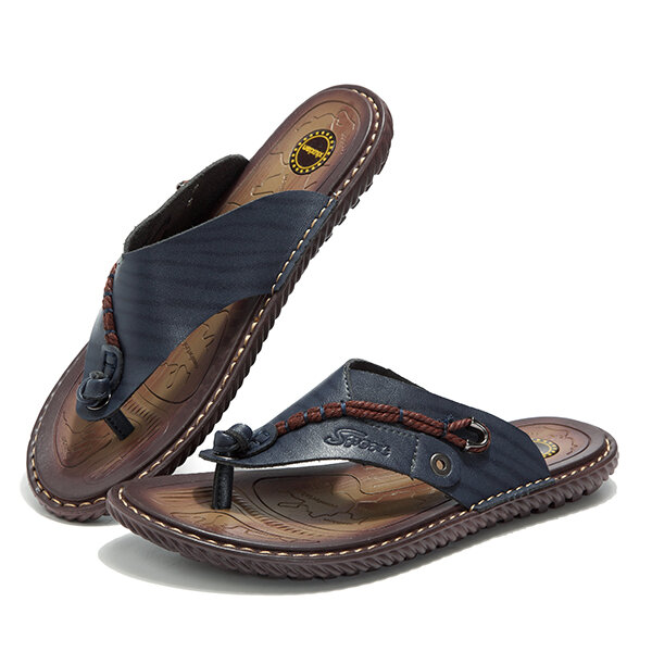 3f1aee975ab men leather sandlas flip flops at Banggood
