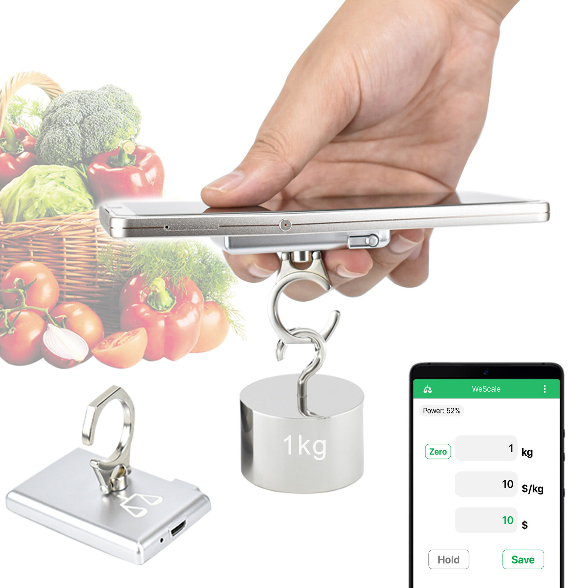 KCASA Portable Mobile Mini Phone Holder Kitchen Scales Electronic Scale Food Diet Kitchen Digital Scale Postal Scales Cooking Tools