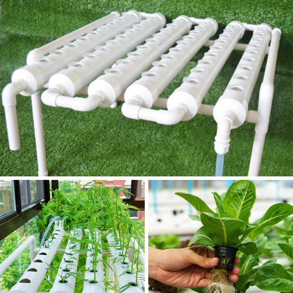 54 Holes Horizontal Hydroponic Piping Site Grow Kit Flow DWC Deep Water  Culture Planting Box System COD 7ca1472ab