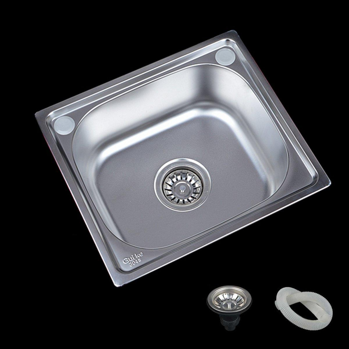 17x15 Stainless Steel Water Sink Single Bowl Kitchen Laundry Wash Under Topmount Faucet Accessory Cod