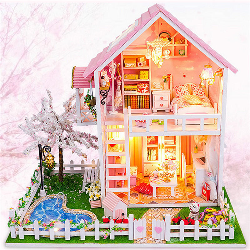 CuteRoom DIY Wooden Dollhouse Miniatures Cherry Tree Under Warm Christmas Birthday Gift