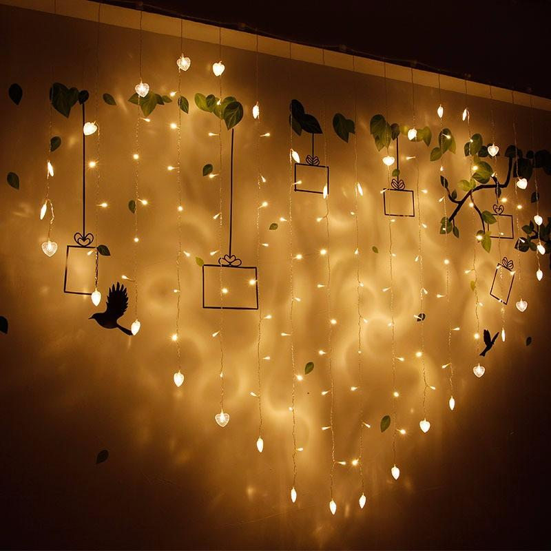 2x1m 128 LED Heart Shape Light String 220V Curtain Home Decor Celebration For Festival Christmas COD