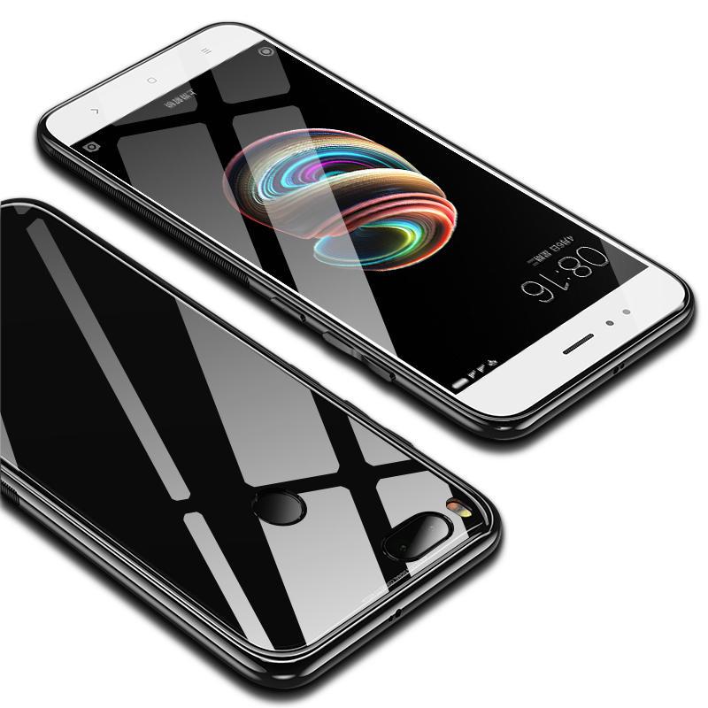 Задняя крышка зеркала с закаленным стеклом Bakeey ™ Soft Защитная рамка для TPU Чехол для Xiaomi Mi A1/Xiaomi 5X