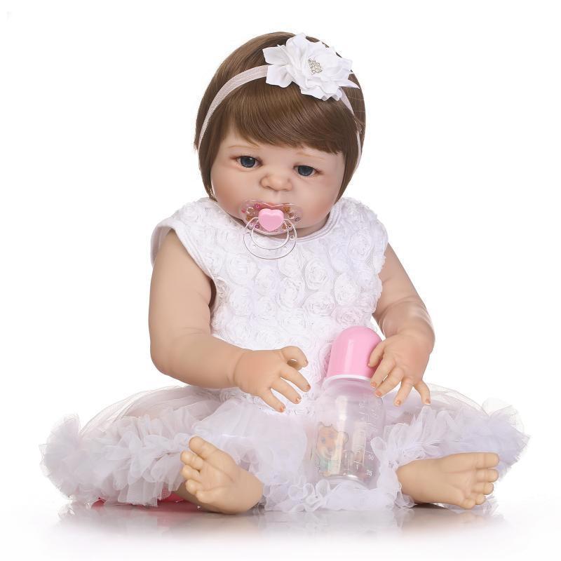 NPK 22inch Reborn Baby Doll 현실적인 소녀의 인형 비닐 장난감 집 장난감 재생