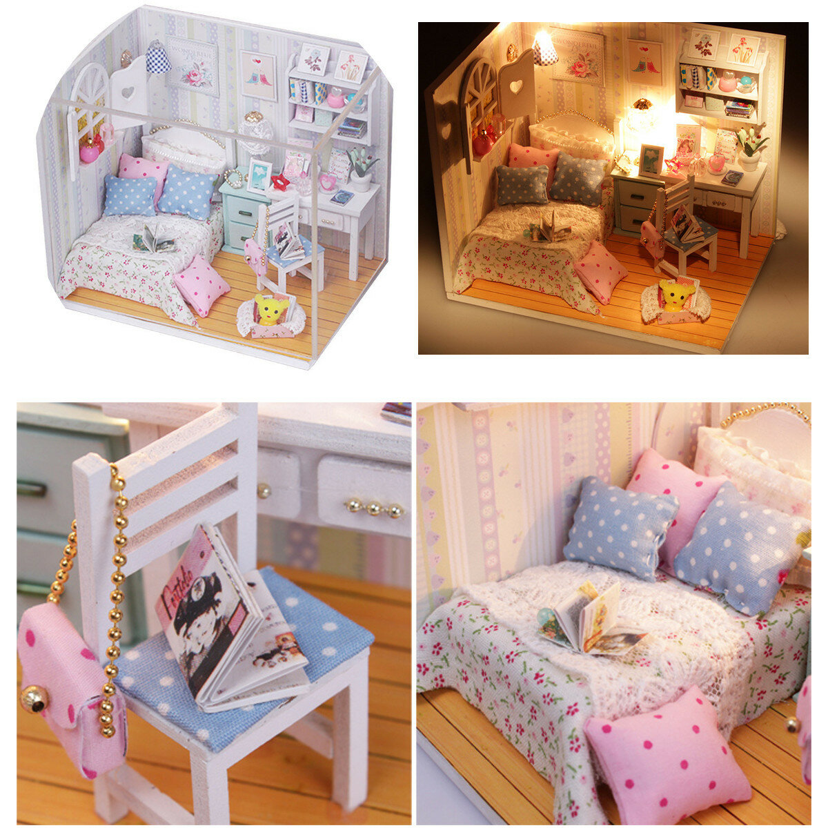 Hoomeda Diy Wood Dollhouse Miniature With Led Furniture Cover Doll Wiring A Shoebox House Room