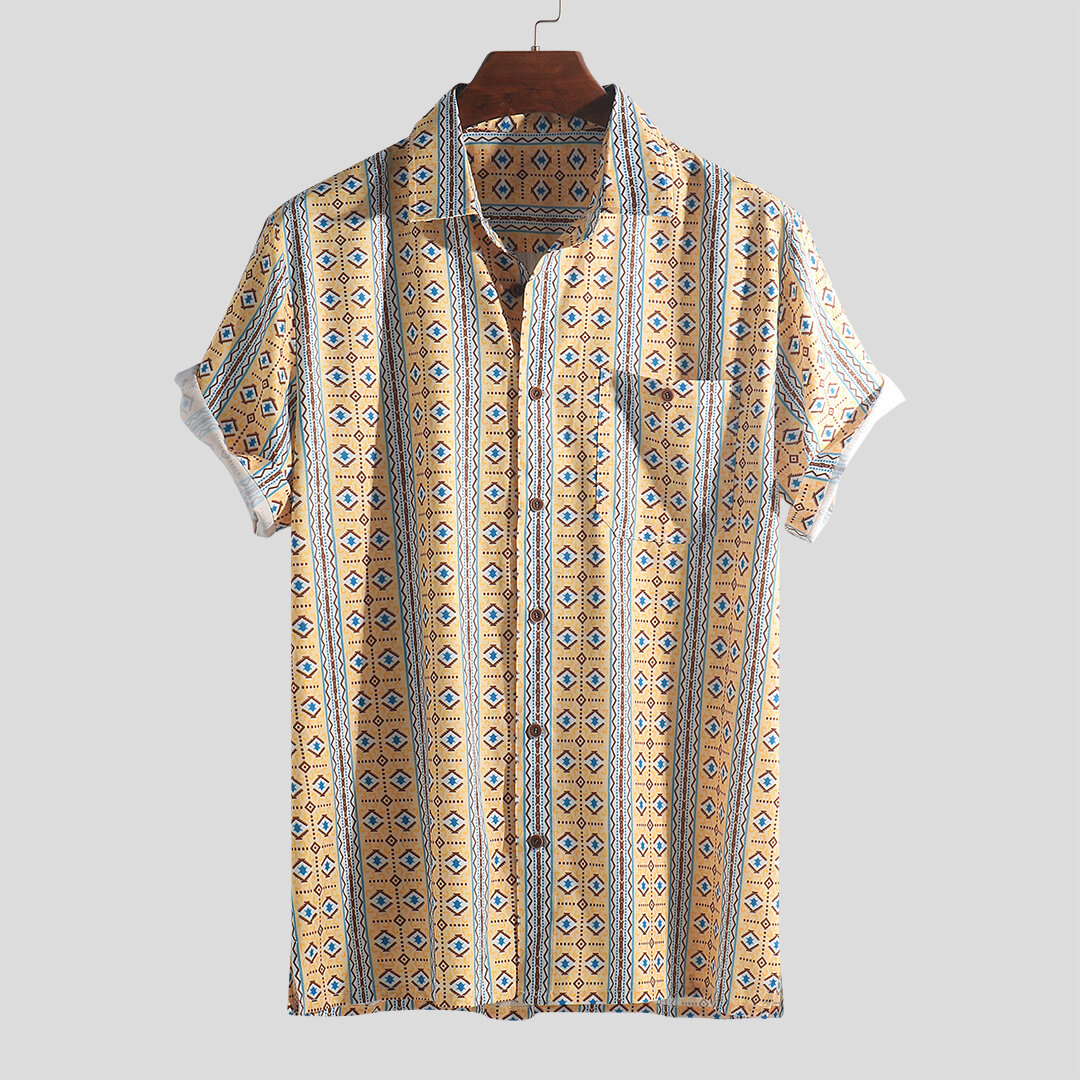 6b53b9be Men Ethnic Pattern Print Vintage Chest Pocket Holiday Relaxed Shirts -  Yellow L COD
