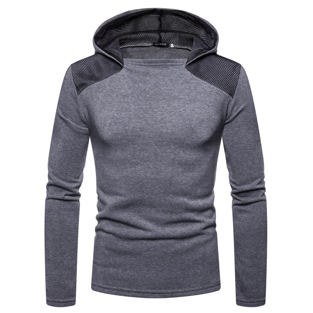 Men's Fashion Cotton Pure Color Hooded Stitching Sleeves Casual Sweatshirt