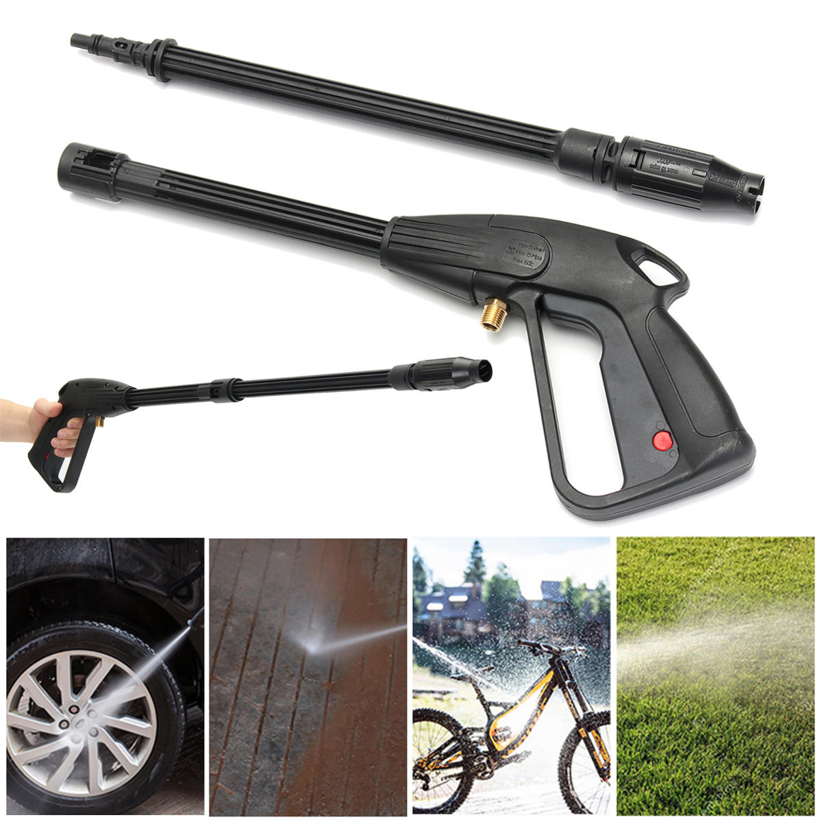 High Pressure Power Washer Gun Copper With Super Long Nozzle For Washing Car Vehicle Wall Floor Car Washing Tool Car Styling Durable In Use Automobiles & Motorcycles