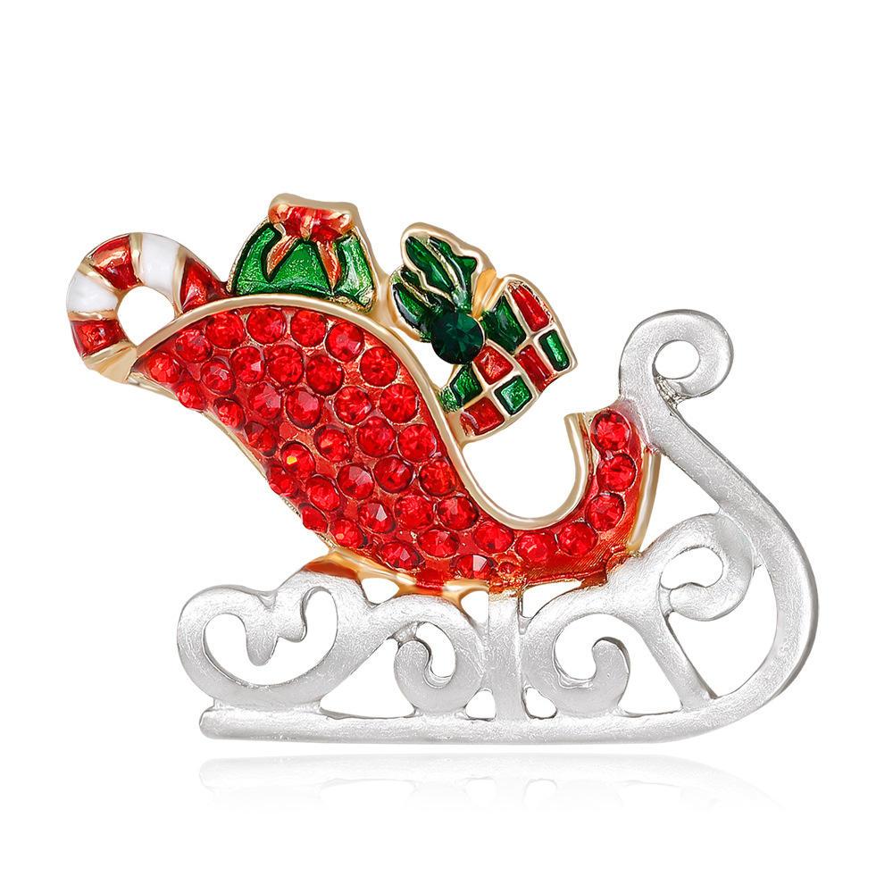 MloveAcc Emaye Noel Baba Sleigh Araba ile Hediye Broşları Kristal Hijab Pins Noel Hediyesi Kadın Çocuk Broşları