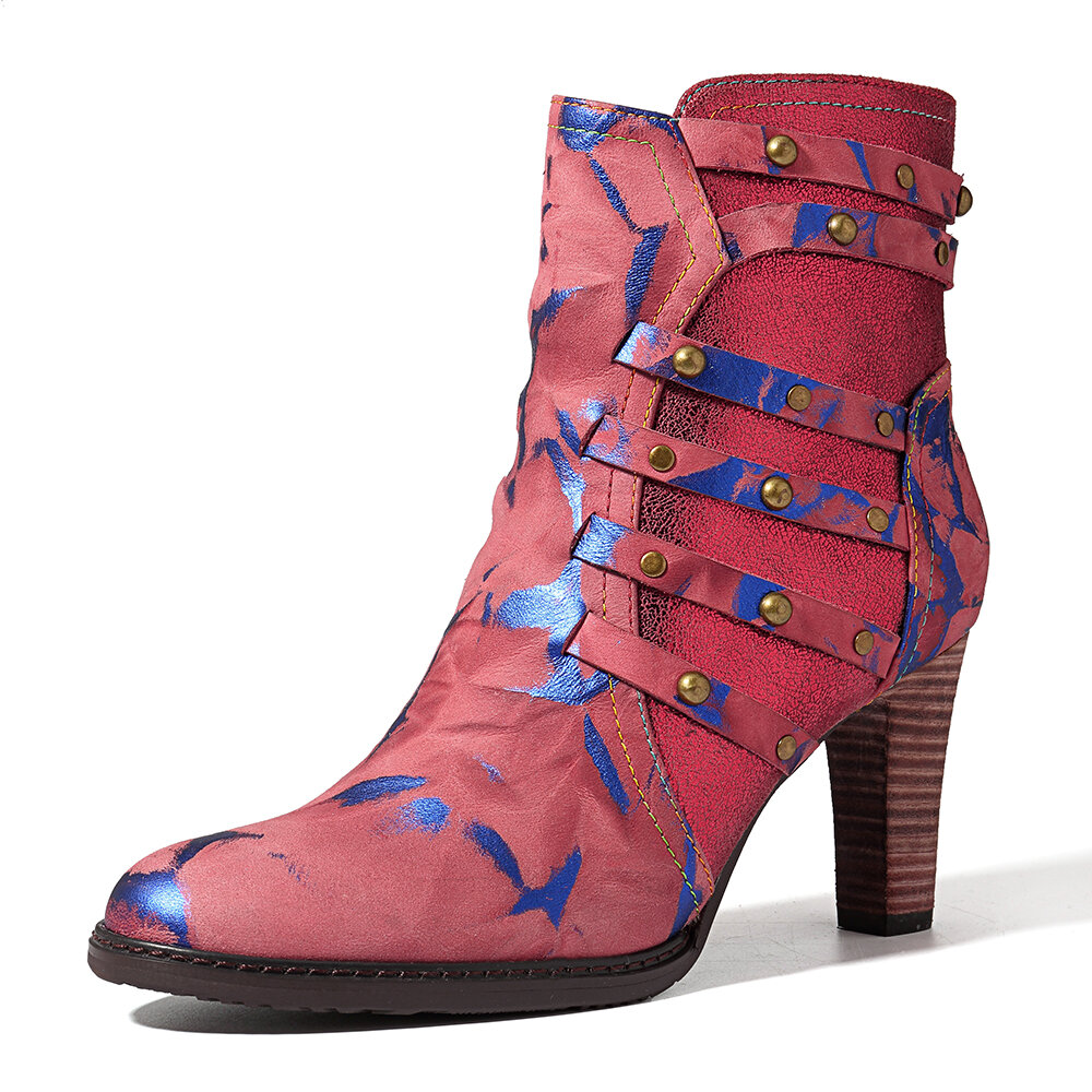SOCOFY Genuine Leather Stitching Rivet Zipper Ankle Boots