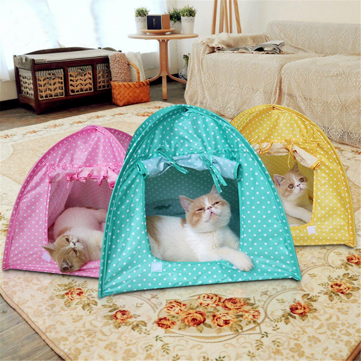 접이식 애완 동물 고양이 텐트 재생 침대 집 키티 캠프 방수 야외 개 개집