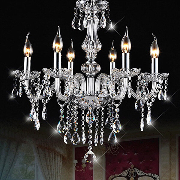 e12 6 heads clear crystal chandelier dining room bedroom ceiling ...