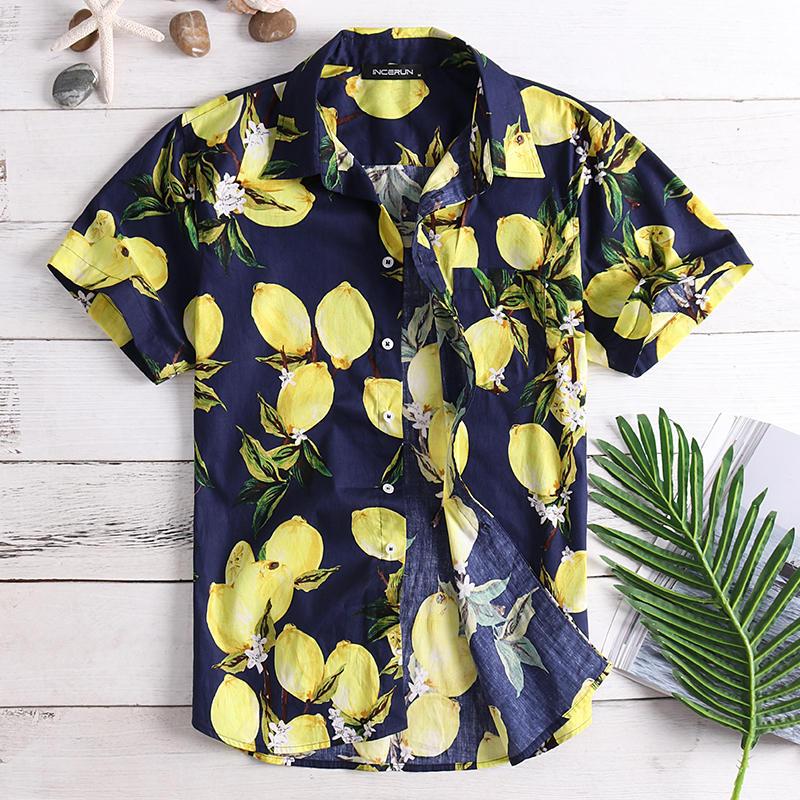 Camisas de moda casual de verano de impresión de frutas para hombre