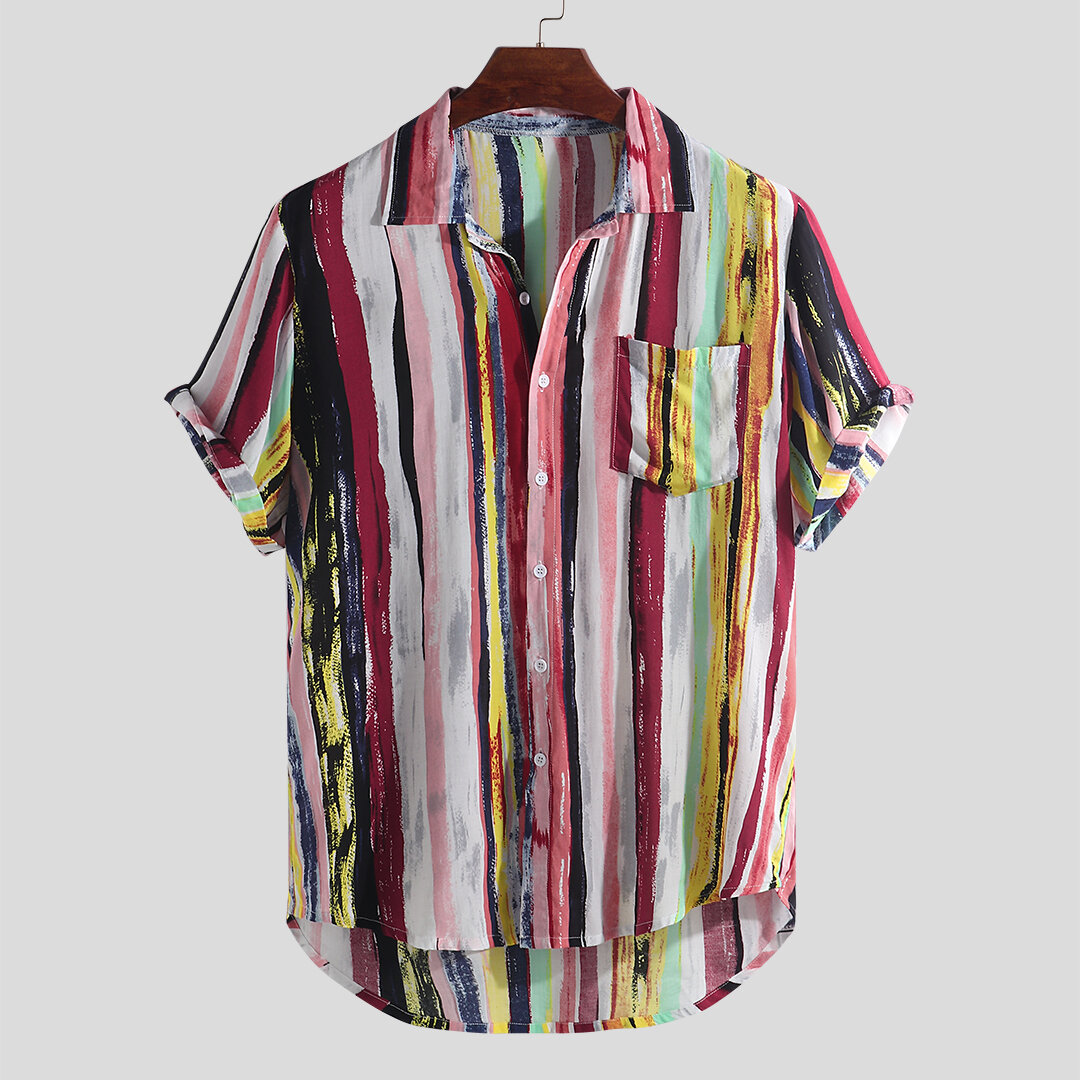 c09c3079b Mens Fashion Colorful Pockets Design Loose Short Sleeve Casual Shirts -  Yellow Stripe L COD