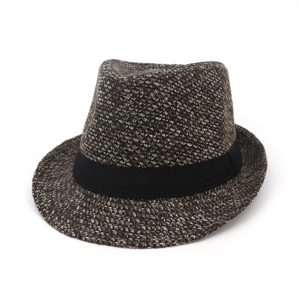 057d1ca8b04 Men Winter Warm Felt Wide Brimmed Jazz Fedora Hat Outdoor Thicken Top Hat  COD