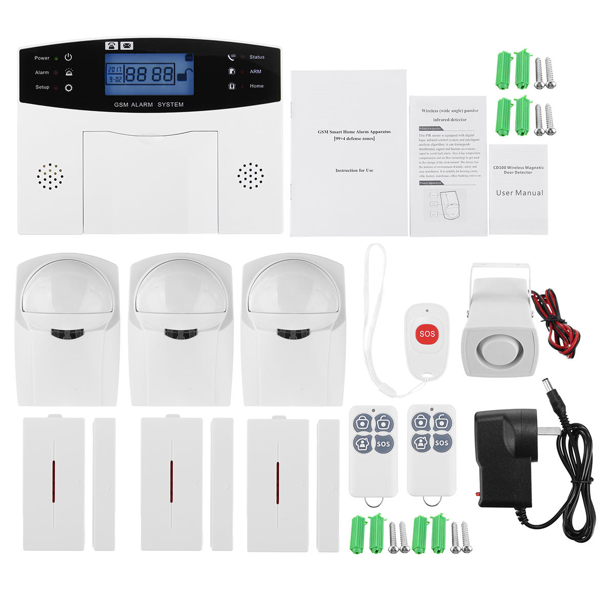 lcd wireless gsm home burglar alarm system motion door window rh banggood com